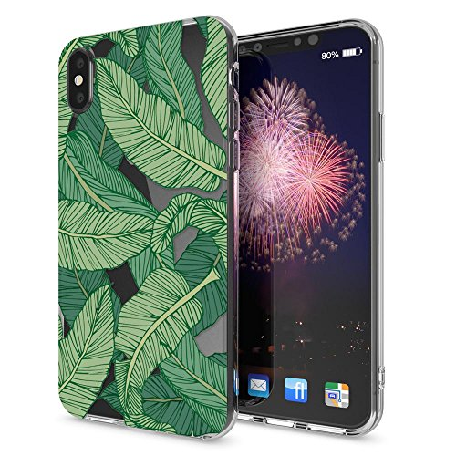 iPhone X Coque Protection de NICA, Housse Motif Silicone Portable Premium Case Cover Transparente, Ultra-Fine Souple Gel Slim Bumper Etui pour Telephone Apple iPhone-X, Designs:Pineapple Greenery