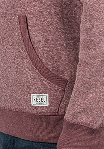 REDEFINED REBEL Marlelo Herren Sweatjacke Kapuzen-Jacke Zip-Hood aus einer hochwertigen Baumwollmischung Meliert Bordeaux