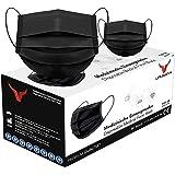 URUSANA 100 stuks medische maskers zwart OP maskers zwart CE gecertificeerd EN14683 TYPE IIR BFE ≥ 98% zwart gezichtsmasker m