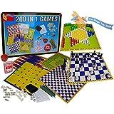 200 in 1 Tin Box Board Game Set Compendium Travel Games Chess Backgammon Ludo