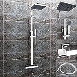 Duschset Chrom quadratisch Duschsystem Duscharmatur Überkopfbrause Regendusche Handbrause Regenbrause mit Duschpaneel mit Brausethermostat
