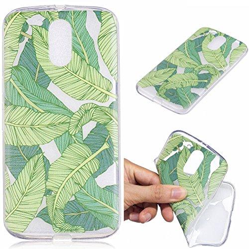 BONROY Coque,Silicone TPU Bumper Case Cover, Ultra Léger Fin Anti-Rayures, Anti-Dérapante, Couverture Protection Etui pour Moto G4 Plus-Feuilles de bananier Vert
