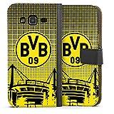 DeinDesign Tasche Leder Flip Case Hülle kompatibel mit Samsung Galaxy J3 2016 BVB Muster Borussia Dortmund