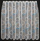 Scheibengardine Kringel 90 cm hoch | Breite der Gardine durch gekaufte Menge in 11 cm Schritten wählbar (Anfertigung nach Maß) | weiß mit blau/Hellbraun | Vorhang Küche Wohnzimmer
