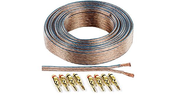 25m Speaker Cable 8x Gold Banana Plugs 2 5mm Wire Elektronik