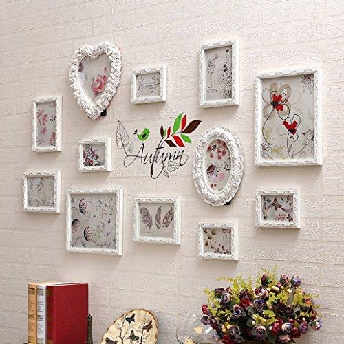 GAOXING HOME GX Bilderrahmen Collage DIY-Massivholz-Dekoration-Treppen-Foto-Rahmen-Kombination, kreatives Restaurant-Wohnzimmer-rechteckiger Hintergrund-Wand-Weiß schnitzte Grenze