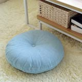 Efrc Lin futon Coussins épais rond large Tissu de sol de méditation terrasse pour baie vitrée Tatami Tapis Housses de siège