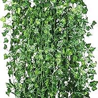 Weimi Pack de 12 Plantas Artificiales de Vid Flores Falsas Hiedra Guirnalda Colgante 80 Hojas 6.88ft Para el Banquete de Boda Home Bar Garden Decoración de la Pared Exterior Interior