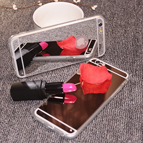 Custodia iPhone 5S, Cover iPhone 5, Lusso iPhone 5 / 5S / SE Cover Specchio in TPU Silicone, Surakey Sottile Gel Gomma Silicone iPhone SE Case Mirror Riflettente Apple Cellulare Shell Back Casa [Antig Argento
