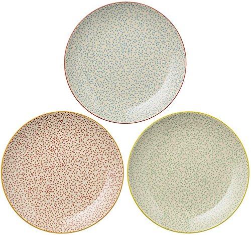 Laura Plates, rouge/vert/bleu, lot de 3 assiettes Ø 25 cm