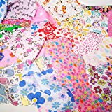Stoffreste mit Kindermotiven, Mädchen-Tasche, 100g, Bündel für Kinderzimmer, für Bastelarbeiten, Reste aus Polycotton