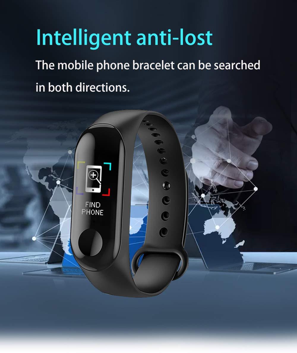 BATHRINS Pulsera Inteligente de Seguimiento de Fitness, M3 IPS, Pantalla Impermeable IP68 Pulsera de Actividad con Monitor de presión Arterial de precisión HR para Android iOS 6