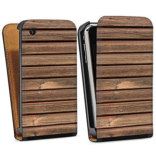 Apple iPhone 4 Housse Étui Silicone Coque Protection Look bois Lattes de bois Planches Sac Downflip noir