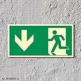 Rettungsweg Richtungspfeil Notausgang Rettungswegschild Schild Nachleuchtend ASR A1.3 300 x