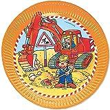 8 Teller * BAGGER & BAUSTELLE * für Kindergeburtstag oder Motto-Party // Geburtstag Party Bob Bauarbeiter Baumeister Pappteller Partyteller Plates