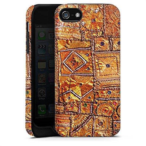 Apple iPhone X Silikon Hülle Case Schutzhülle Muster Gold Teppich Tough Case matt