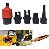Ventiladapter SUP-adapter med 4 st gasmunstycke SUP uppblåsbara tillbehör luftpumpar omvandlare för bil paddelbräda gummibåt