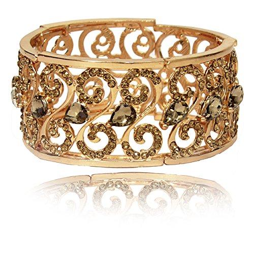 Mansiyaorange Adjustable Broad Korean Austrian Crystal AAA Rhinestone Multicolor One Gram Gold...