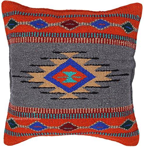Aztec Überwurf Kissenbezügen, 18x 18, Hand gewebt in Southwest und native american Styles. Rust Gray Native American Indian Cover