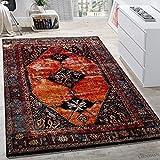Tapis De Créateur Moderne À Poils Ras Design Oriental Multicolore Rouge Brun...