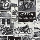 Timeless Treasure Stoff Baumwollstoff Newspaper Motorrad
