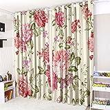 CUSHIONMANIA mit Ösen Vorhänge 3D Vorhänge 16Beliebten Designs. (132,1cm Breit x 228,6cm Drop, Vintage Floral)