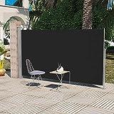 XINGLIEU Outdoor Living patio terrazza tenda laterale 160x 300cm nero tenda laterale colore: grigio argento (supporto), nero (schermo)