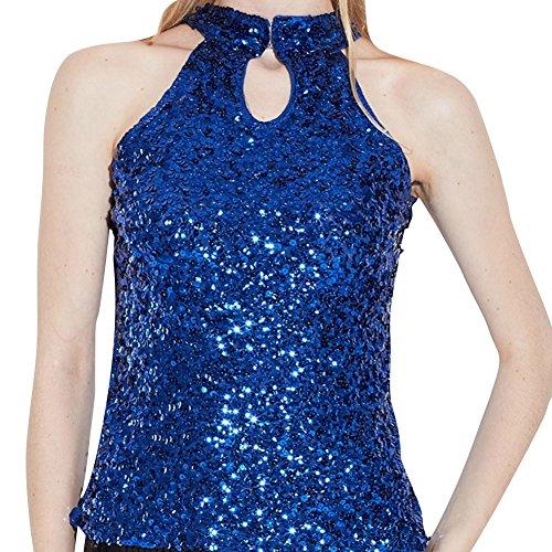 Donne Tops Glitter Paillettes Canotte Senza Maniche Magliette Bluse Blu Taglia (Tamburo Con Collare)