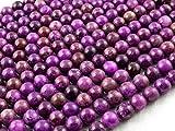 Beads Ok, DIY, Peace Jaspe in Sugilite Colour, Teintée, 8mm, Perle en Pierre Semi-précieuse, Ronde, Environ 38cm Un Fil. (Peace Jasper in Sugilite Colour, Color Enhanced, Plain Round Bead)