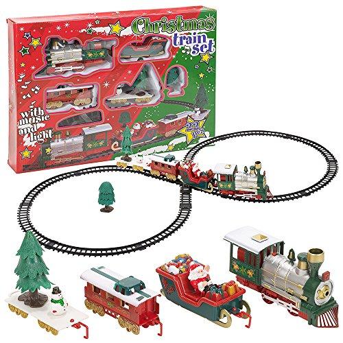 Train électrique de Noël - Son et Lumière - 22 pièces - Décoration de Noël Train avec Wagon père Noel, Sapin.