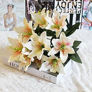 Flores artificiales, flores artificiales lirio de tigre de látex Real Touch Artificial flores para hogar y decoración de…