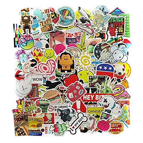 100 St. Farb-Aufkleber Graffii Decals Bumper Stickers für Auto, Skateboard, Reisekoffer, Motor-/Fahrrad, Boot, Computer/Laptop/Tablet, Kinderzimmer UVM, Fast auf alle glatten u. sauberen Oberflächen (Autos Motores De)