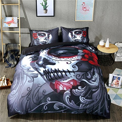 4 pezzi set copripiumino 3d stampa joker skull bedding set halloween skull copripiumino lenzuolo e federa, red, 220*240cm for 2m bed