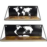 Amazon Brand – Umi Lot de 2étagères murales flottantes, avec découpes en Forme de Carte du Monde