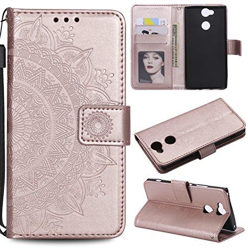 Coque Sony Xperia XA2, E-Lush Etui Housse Flip PU Cuir, Case Cover Mandala Totem Fleur Etui Portefeuille Magnétique Protection pour Sony Xperia XA2 avec Support et Fente Carte - Or Rose