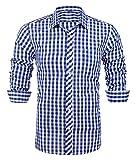 Schonlos Herren Hemd kariert Kentkragen Langarm Shirts regular fit Businesshemd Freizeithemd aus Baumwolle (L, Kariert BLW)