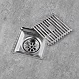Homelody Square Shower Floor Drain with Removable Cover Drain Grate Stainless Steel 100*100 mm, Brushed Finish