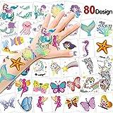 Konsait 80pcs Tatouages temporaires Enfant, sirène Papillon Licorne Tatouages ephémères pour Enfants Filles fête d'anniversaire Cadeau Licorne Pinata, 2inch X 2inch