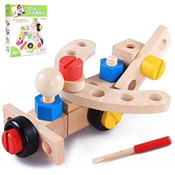Wooden Toys Set, Wooden Tool Kit, Construction Building Toys, Children's Puzzle Assembling Building Blocks for 3 Year Olds Boy and Girl