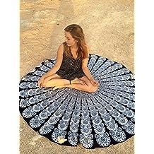Rawyal-blanco y negro diseño de mayla liberato Roundie redondo de pluma de pavo real de playa manta con diseño de flores de Shade Tree textiles Hippy diseño de Mary tanana mantel de algodón, esterilla para Yoga redondo