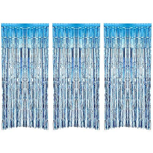(3 Packung Metallic Tinsel Vorhänge, Folie Fringe Shimmer Vorhang Tür Fenster Dekoration für Geburtstag Hochzeit (Hellblau))