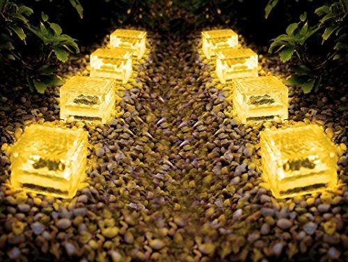 Solarleuchten Set Ice Cubes - Solar Gartenbeleuchtung aus massivem Glas - perfekt als Wegeleuchte (warmweiss, 8er Set 7x7x5 cm)
