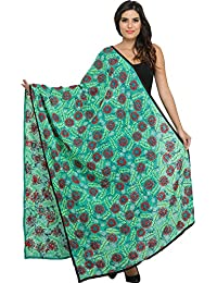 Exotic India Phulkari Dupatta From Punjab With Crewel Embroidery And Sequins