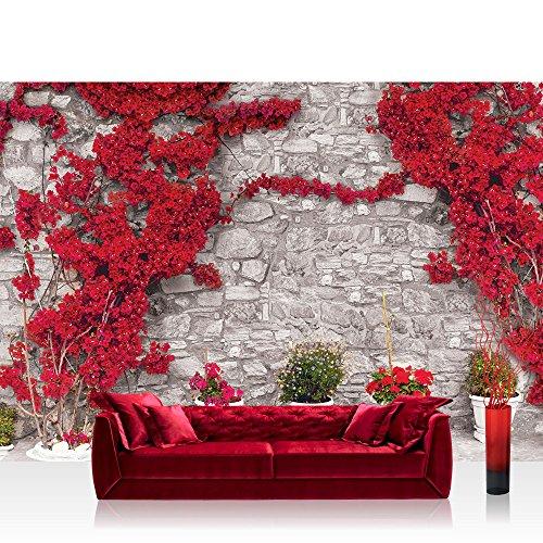 Fototapete 368x254 cm PREMIUM Wand Foto Tapete Wand Bild Papiertapete - Steinwand Tapete Steinoptik Steine Pflanze Bougainvillea Mediterran grau - no. 2925