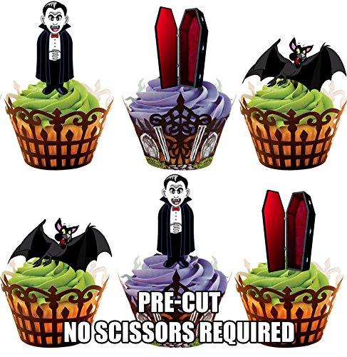 Vorgeschnittener Halloween Vampir Mix – Essbare Cupcake Topper / Kuchendekorationen (12 Stück) (Cupcakes Dekoration Für Halloween)