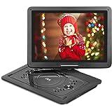 """QKK 14.1"""" tragbarer DVD Player, Auto DVD Player, 6 Stunden Akku, 270°drehbares HD Display, unterstützt USB und SD Karte, USB Datenreplikation Funktion, Schwarz. (14.1 Inch)"""