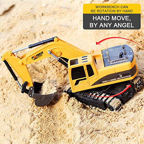RC Auto kaufen Baufahrzeug Bild 6: TETAKE Sandspielzeug Bagger, RC Bagger, Spielzeug Baufahrzeuge, Sandkasten Spielzeug, Sandspielzeug Junge Bagger für Kinder Baby ab 3 Jahr (1:24 und 6CH)*