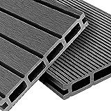 WPC Terrassendielen Basic Line - Komplett-Set Hellgrau | 20m² (4m x 5m) Holz-Brett Dielen | Boden-Fliesen + Unterkonstruktion & Clips | Balkon Boden-Belag + rutschfest + witterungsbeständig