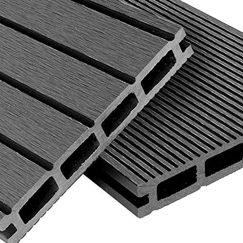 WPC Terrassendielen Basic Line - Komplett-Set Hellgrau | 48m² (4m x 12m) Holz-Brett Dielen | Boden-Fliesen + Unterkonstruktion & Clips | Balkon Boden-Belag + rutschfest + witterungsbeständig - 4 X 12 Holz