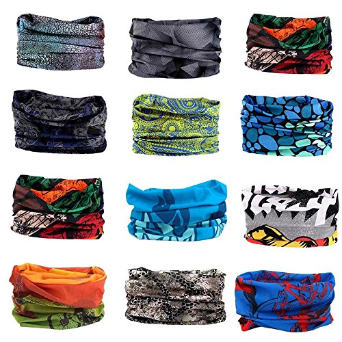 ECOMBOS 6PCS Multifunctional Headwear Headbands Bandana - Elastic Seamless Magic Scarf Tube Mask Sport Outdoor UV Resistance for Men Women Kids Unisex